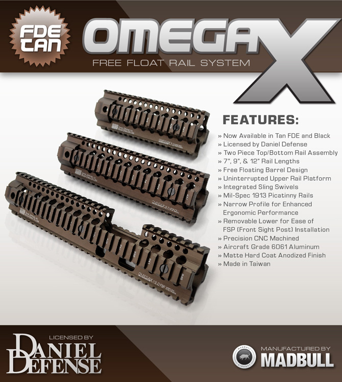 Madbull Airsoft Daniel Defense Omega X Tan FDE