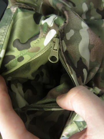 Multicam uniform back pocket